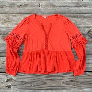 Orange Boho Top Lucky Brand With Tassels on Sleeve